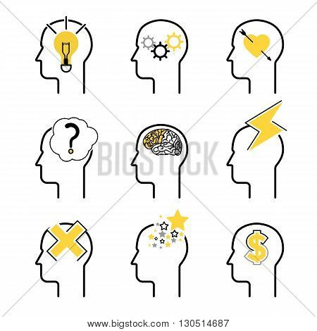 Human mind process icon set, people brain thinking. Vector illustration for your design