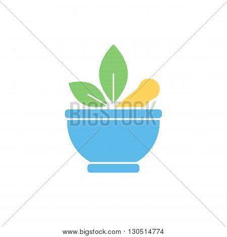 Pharmaceutical mortar and leaf, alternative medicine sign. Vector flat color
