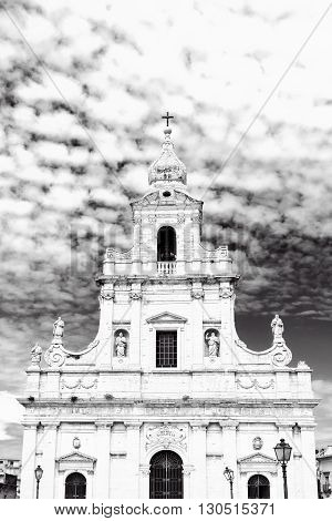Catholic Church in the Sicilian city of Ragusa Retro Image Filtered Style
