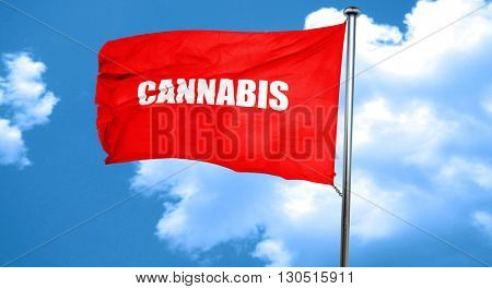 cannabis, 3D rendering, a red waving flag