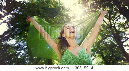 Beautiful Attractive Carefree Casual Freedom Concept