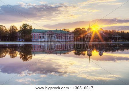 Farmstead Count Sheremetev Kuskovo at sunrise with reflection in a pond Moscow