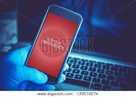 Emergency Mobile Application. Click For Emergency. Mobile Technology in Health Care and Medication.