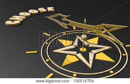 Red arrow of a compass pointing to the word choose. 3D Rendering. Business metaphor