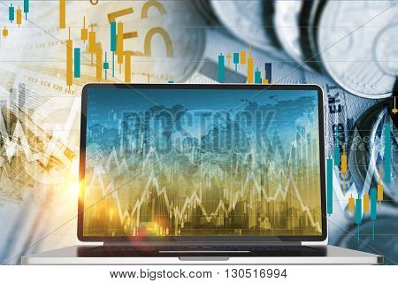 Forex and Stock Exchange Investing Concept with Laptop Computer. Financial Conceptual Graphic.