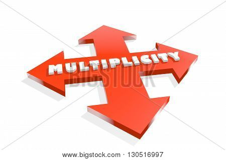 Arrow cross with multiplicity word. Way choosing metaphor. 3D rendering