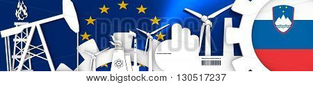Energy and Power icons set. Header banner with Slovenia flag. Sustainable energy generation and heavy industry.European Union flag backdrop. 3D rendering