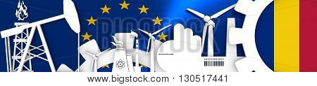Energy and Power icons set. Header banner with Romania flag. Sustainable energy generation and heavy industry.European Union flag backdrop. 3D rendering