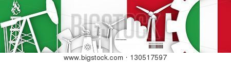 Energy and Power icons set. Header banner with Italy flag. Sustainable energy generation and heavy industry.3D rendering