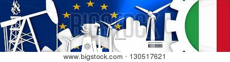 Energy and Power icons set. Header banner with Italy flag. Sustainable energy generation and heavy industry.European Union flag backdrop. 3D rendering