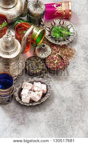 Turkish tea table with traditional delights. Ramadan kareem. Eid mubarak. Islamic holidays