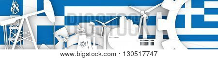 Energy and Power icons set. Header banner with Greece flag. Sustainable energy generation and heavy industry.3D rendering