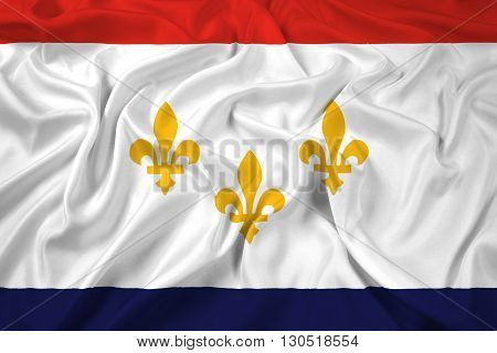 Waving Flag of New Orleans Louisiana, with beautiful satin background