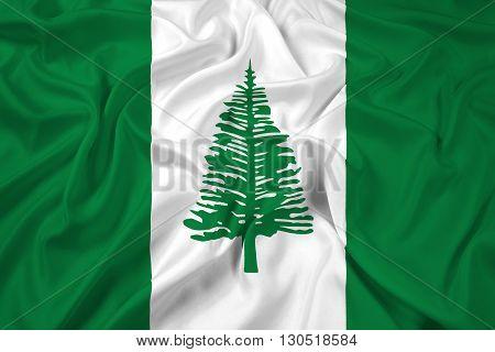 Waving Flag of Norfolk Island, with beautiful satin background
