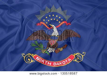 Waving Flag of North Dakota State, with beautiful satin background