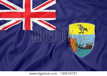 Waving Flag of Saint Helena, with beautiful satin background