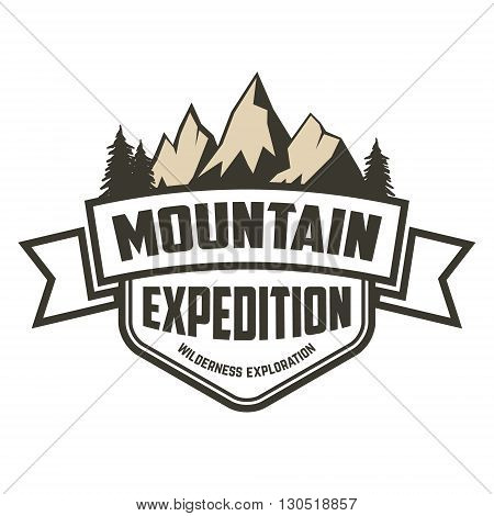 Mountain expedition label. Hiking mountain tourism camping. Design element for logo label badge emblem sign.