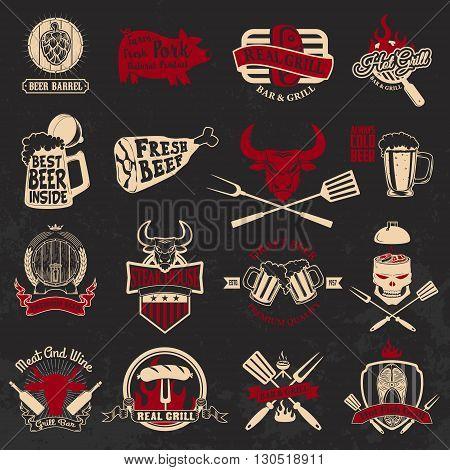Set of the grill barbecue fresh beer steak house labels and emblems on grunge background. Design elements for logo label emblem badge sign.