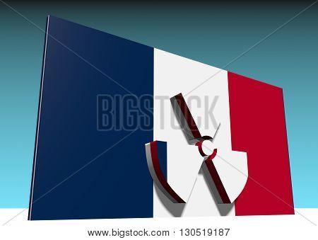 atom energy symbol and france national flag. 3d rendering