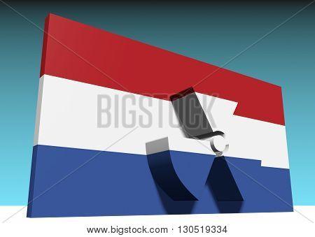 atom energy symbol and netherlands national flag. 3d rendering
