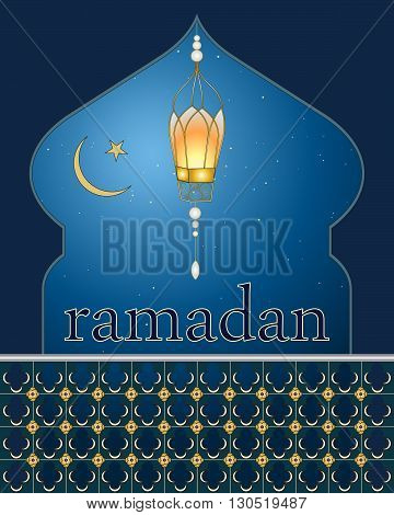 an illustration of a ramadan greeting card with a lantern a star and crescent moon on a starry night background