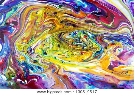 Colorful abstract acrylic painting. Natural dynamic mixture of oil colored pigments fluid flow background.