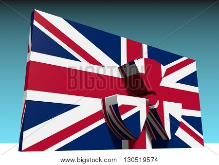 atom energy symbol and united kingdom national flag. 3d rendering
