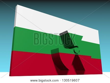 atom energy symbol and bulgaria national flag. 3d rendering