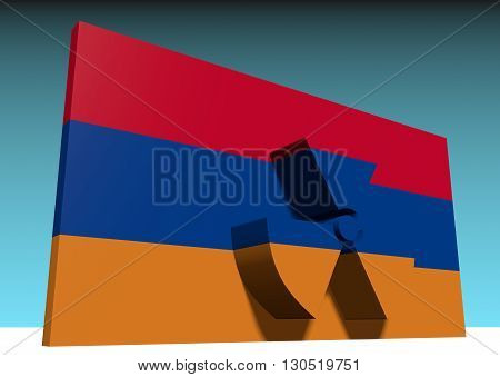 atom energy symbol and armenia national flag. 3d rendering
