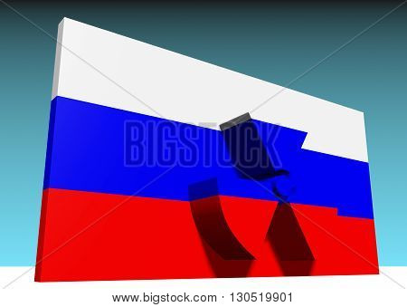 atom energy symbol and russia national flag. 3d rendering