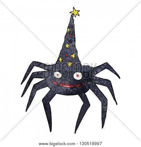 freehand textured cartoon halloween spider in witch hat