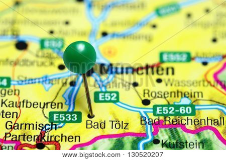 Bad Tolz pinned on a map of Germany