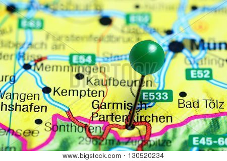 Garmisch-Partenkirchen pinned on a map of Germany