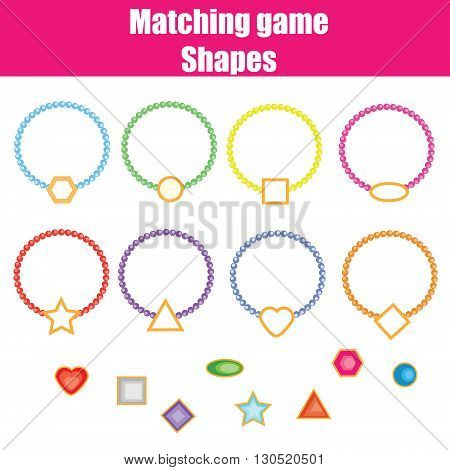 Matching game. Match the shapes task. Learning geometry shapes theme for kids books worksheets