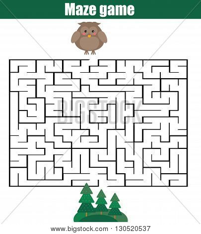 Maze children game: help the owl go through the labyrinth and find forest