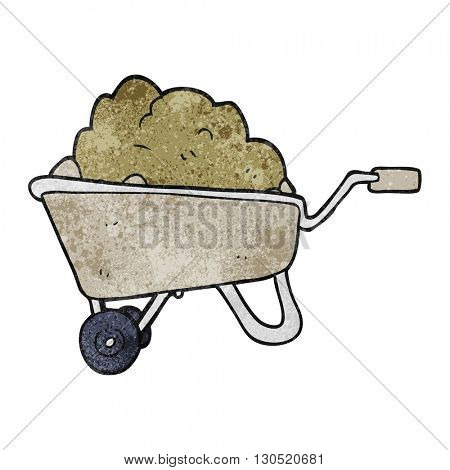 freehand textured cartoon wheelbarrow full of dirt