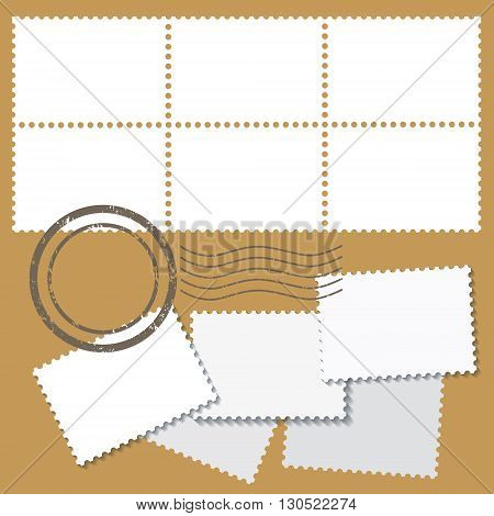 Blank postage marks in white color with stamps isolated on beige background. vector illustration