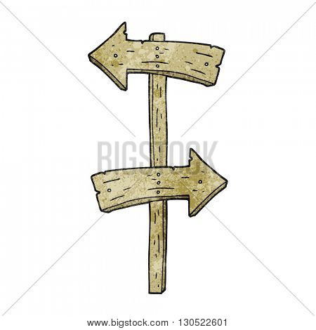freehand textured cartoon wooden direction sign