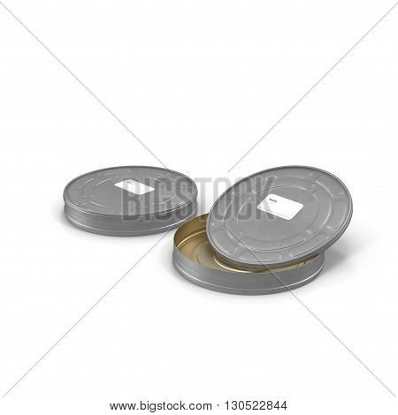 Vintage film can isolated on white background 3D Illustration