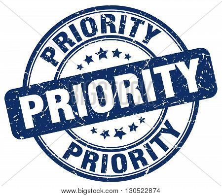 priority blue grunge round vintage rubber stamp