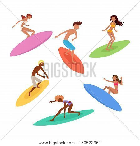 Set of cute surfers with surfboards. Surfing characters. Vector illustration.