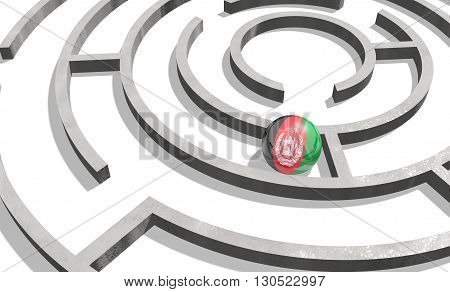Image relative to politic situation in Afghanistan. National flag textured sphere in labyrinth. 3d rendering