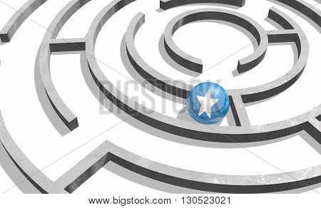 Image relative to politic situation in somali. National flag textured sphere in labyrinth. 3d rendering