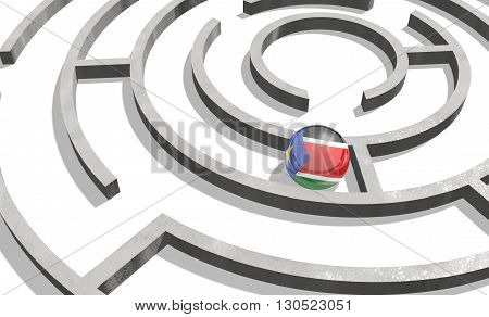 Image relative to politic situation in Sudan. National flag textured sphere in labyrinth. 3d rendering