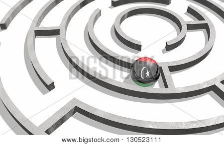 Image relative to politic situation in Libya. National flag textured sphere in labyrinth. 3d rendering