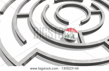 Image relative to politic situation in Iraq. National flag textured sphere in labyrinth. 3d rendering