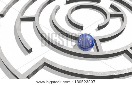 Image relative to politic situation in European Union. National flag textured sphere in labyrinth. 3d rendering