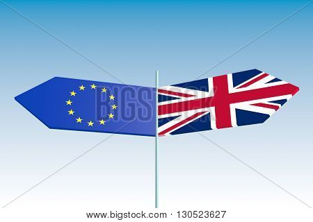 United Kingdom exit from europe relative image. Brexit named politic process. Referendum theme.3D rendering