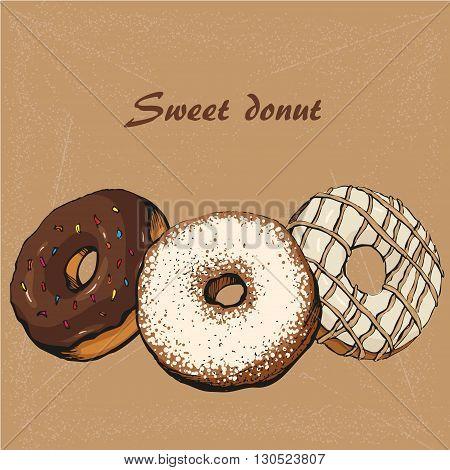 donut vector chocolate sketch for design, illustration