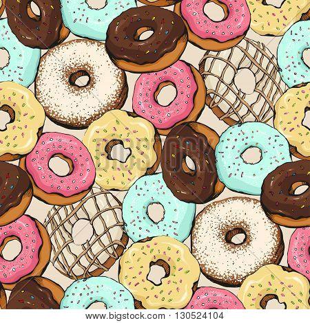 donut pattern sketchdonut vector  pattern design, illustration
